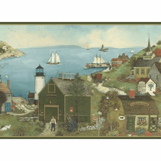 879218 Lighthouse Harbor Town Wallpaper Border