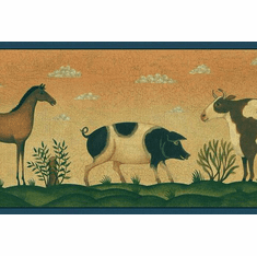 879225 Primitive Folk Art Animals Wallpaper Border