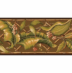 879244 Evening Tropics Lattice Leaves Wallpaper Border Brown