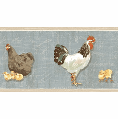 879254 Bailey Rooster & Script Wallpaper Border