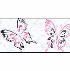 879256 Butterfly Scroll Wallpaper Border