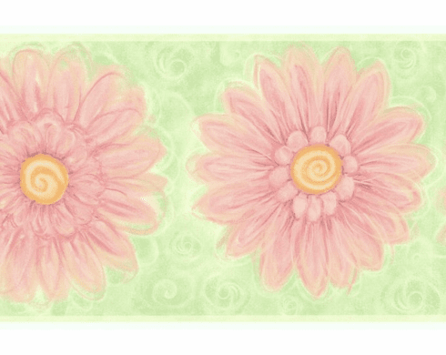 879259 Lime Green & Peachy Pink Daisies Wallpaper Border