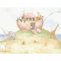 879260 Pastel Noah's Ark and Crew Wallpaper Border