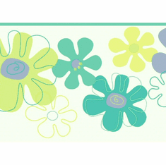 879262 Flower Power Lime, Purple, Aqua Wallpaper Border
