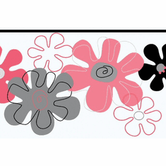 879263 Flower Power Pink, Black, Silver Wallpaper Border