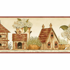 879266 Cottage Birdhouses Wallpaper Border