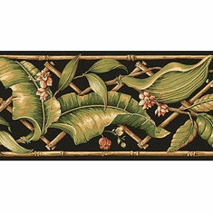 879271 Evening Tropics Lattice Leaves Wallpaper Border Black