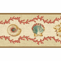 879290 Waverly Seashells Coral Wallpaper Border