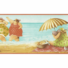 879302 Comical Fat Ladies on the Beach