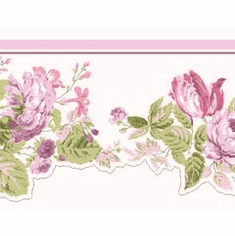 879304 Scalloped Floral Wallpaper Border