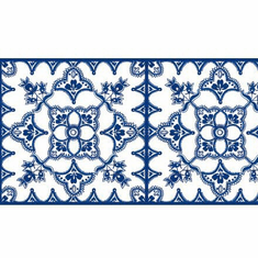 879319 Tangier Blue/White Wallpaper Border