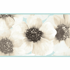 879335 Marguerite Wild Rose Wallpaper Border Aqua