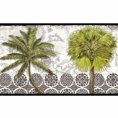 879343 Delray Palm Wallpaper Border Black