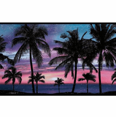 879345 Paradise Palm Pink/Blue Wallpaper Border