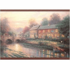 879356 Thomas Kinkade Lamplight Inn Bridge Wallpaper Border