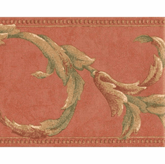 879365 Acanthus Scroll Coral and Green Wallpaper Border