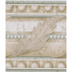 879380 Acanthus Leaf Egg & Dart Light Green/Tan Wallpaper Border