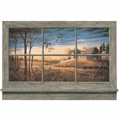 879395 Rustic Duck Lodge Window Wall Accent Mural
