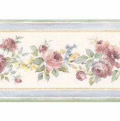 879396 Narrow Floral Wallpaper Border