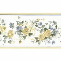 879406 Narrow Yellow Rose Wallpaper Border