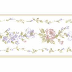 879408 Narrow Floral Rose Wallpaper Border