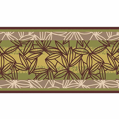 879417 Graphic Leaves Stripe Wallpaper Border