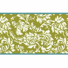 879433 Green Damask Wallpaper Border