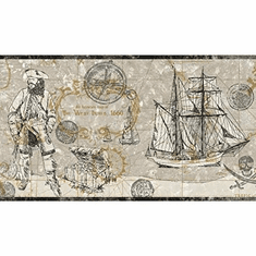 879438 Pirate Map Wallpaper Border