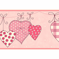 879461 Hanging Hearts Wallpaper Border