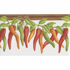 879486 Chili Peppers on Vine Wallpaper Border KV79527