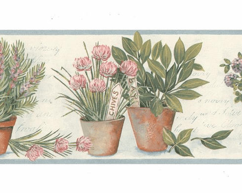 879487 Potted Flowers Wallpaper Border