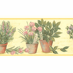 879488 Potted Flowers Wallpaper Border