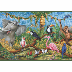 879518 Swinging Jungle Animals Wallpaper Border