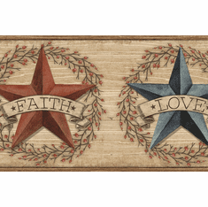 879522 Faith Barn Star Red Wallpaper Border