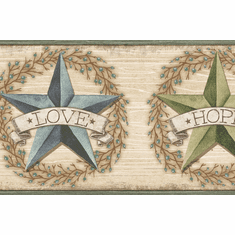 879523 Faith Barn Star Teal Wallpaper Border