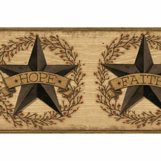 879524 Faith Barn Star Brown Wallpaper Border