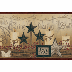 879525 Candles, Baskets, Stars Wallpaper Border