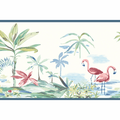 879527 Pink Flamingos Lagoon Teal/Blue Wallpaper Border