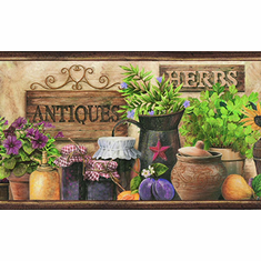 879536 Antiques and Herbs Shelf Wallpaper Border