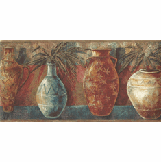 879544 Southwestern Pottery Vases Wallpaper Border MN5028