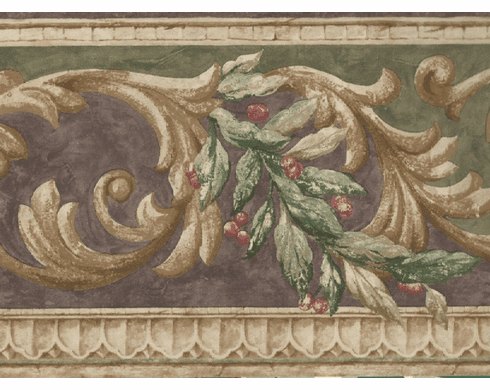 879546 Architectural Scroll With Leaves and Berries Wallpaper Border