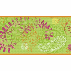 879552 Disney Paisley Wallpaper Border Green