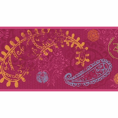 879554 Disney Paisley Wallpaper Border Magenta