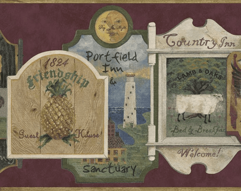 879564 Country Signs Border - Burgundy