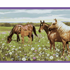 879578 Horses in Field Purple Wallpaper Border ME11232b
