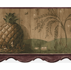 879590 Pineapple Die-Cut Wallpaper Border - Burgundy HS3091b
