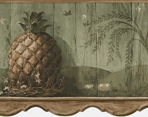 879591 Pineapple Die-Cut Wallpaper Border - Sage HS3092b
