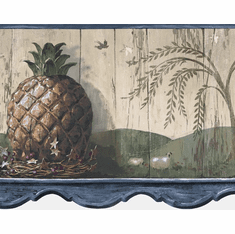 879592 Pineapple Die-Cut Wallpaper Border - Blue HS3093b