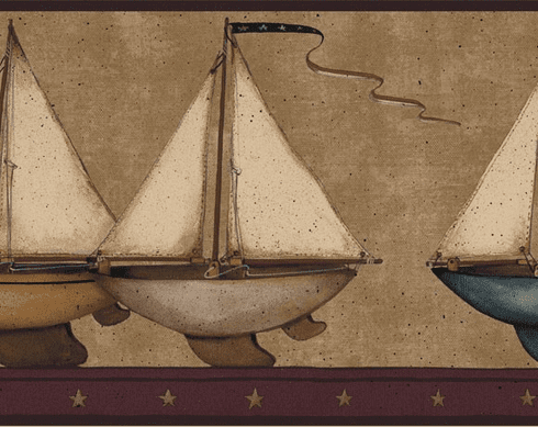879594 Sailboat Wallpaper Border Burgundy HS3122b