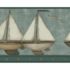 879595 Sailboat Wallpaper Border Teal HS3123b